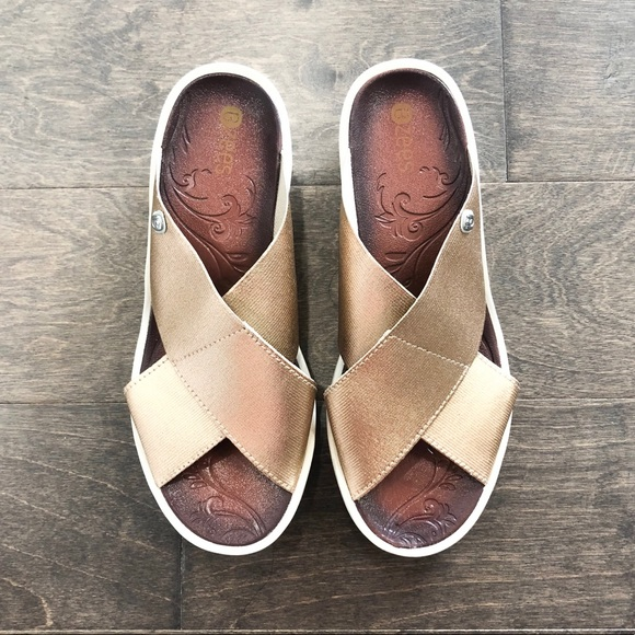 811212b6026 Bzees Shoes - Bzees Rose Gold Desire Wedge Sandals